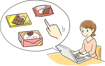 パソコンでアンケート調査に答える女性のイラスト